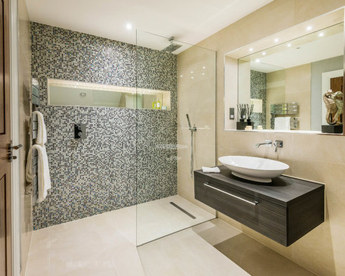 inspiration for a contemporary and modern shower room in surrey with flat panel cabinets - Shower Room Design Ideas