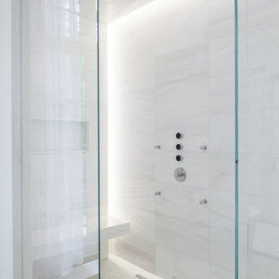 Inspiration for a large modern master white tile and stone tile marble floor alcove shower remodel in Toronto with white walls