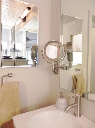 Modern Bathroom square vessel sink; wall mounted mirror; medicine cabinet; windowless bath