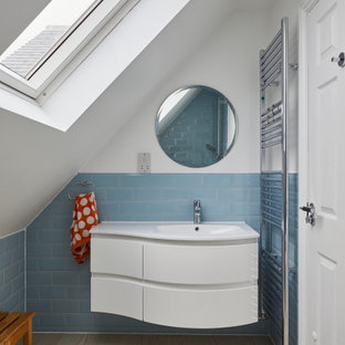 Design ideas for a contemporary bathroom in London with a single sink and a floating vanity unit.