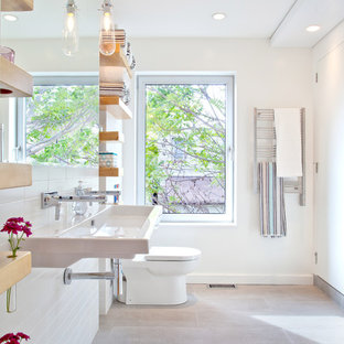 Example of a minimalist bathroom design in Toronto with a trough sink