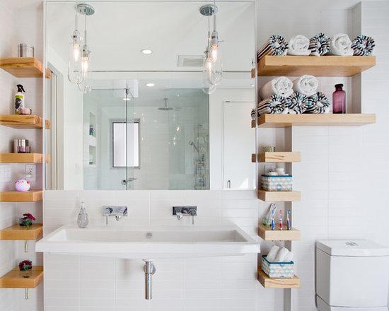 Built In Bathroom Shelves Houzz