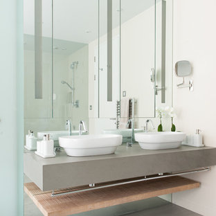 Contemporary Blue Bathroom with White His-and-Hers Sinks