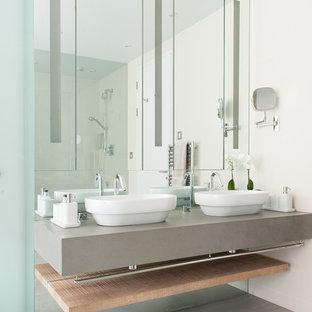 Bathroom - contemporary bathroom idea in London with a vessel sink