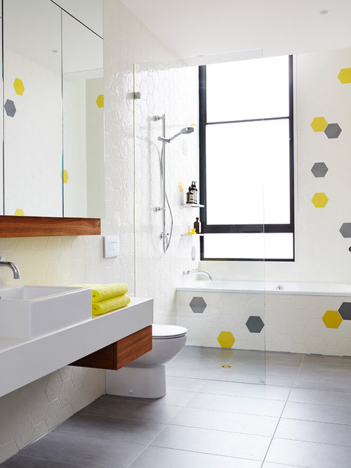 This Is An Example Of A Mid Sized Scandinavian Kids Bathroom In Melbourne  With A