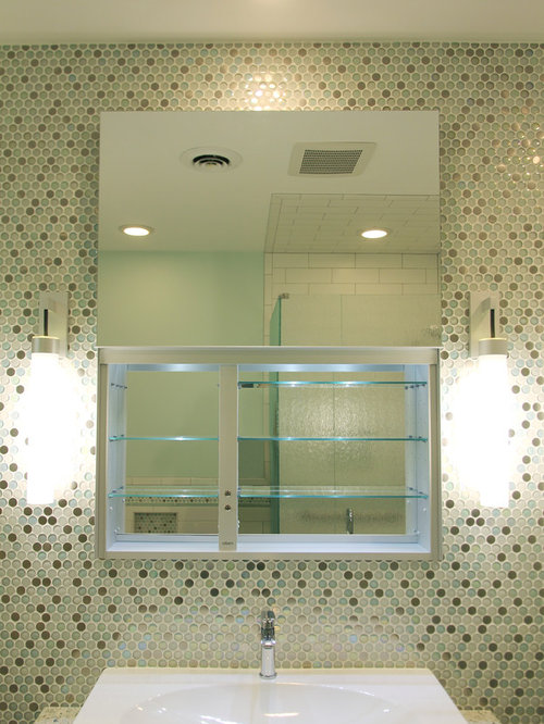 Beautiful Example Of A Mid Sized Trendy Kidsu0027 Multicolored Tile Alcove Shower Design  In St