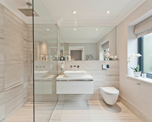 Trendy Walk In Shower Photo In Surrey With A Wall Mount Toilet And A