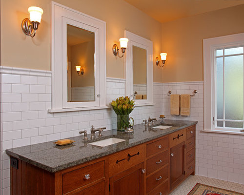 Arts And Crafts Master White Tile And Subway Tile Mosaic Tile Floor Bathroom  Photo In Minneapolis Part 93