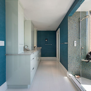 Trendy Master Green Tile And Mosaic White Floor Open Shower Photo In Miami With Flat
