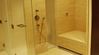 Stacked Limestone Steam Shower
