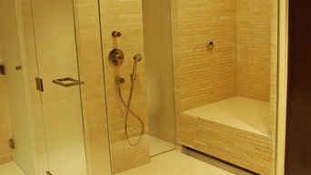 Stacked Limestone Steam Shower