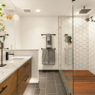 Inspiration For A Contemporary Master White Tile And Ceramic Gray Floor Double Shower Remodel In