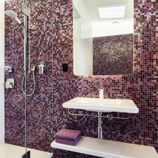 Inspiration for a mid-sized contemporary kids bathroom in Melbourne with multi-coloured tile, mosaic tile, white benchtops, a floating vanity, a single vanity, an alcove shower, mosaic tile floors, a wall-mount sink and purple floor.