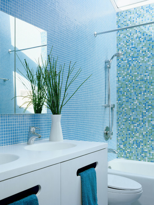 Blue tile bathroom home design ideas pictures remodel and decor