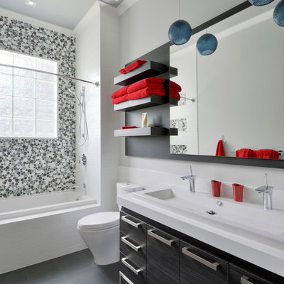 Inspiration for a contemporary gray tile and mosaic tile bathroom remodel in Toronto with a trough sink and flat-panel cabinets