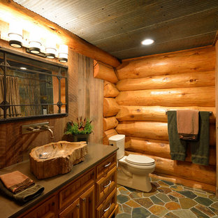 Charmant Mountain Style Bathroom Photo In Minneapolis With A Vessel Sink And Medium  Tone Wood Cabinets