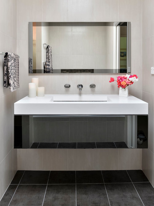 Suspended vanity houzz for Monochromatic bathroom designs