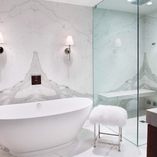 Bathroom - transitional master porcelain tile bathroom idea in New York with white walls