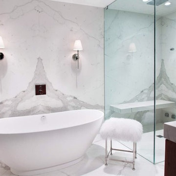 Statuario White Bathroom using Porcelain Slabs