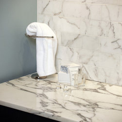 "Statuary White Vanity - 6"" x 12"" Statuary White tiles on wall"