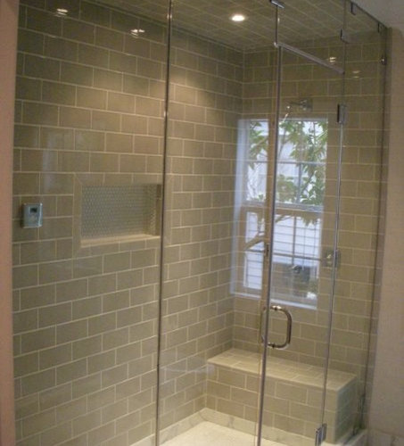 Steam shower glass door