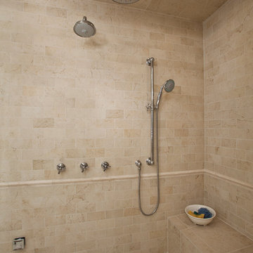 Steam shower with a rain-head, hand-held and fixed shower head