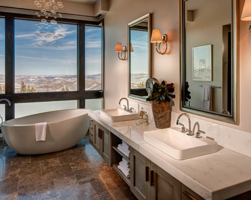 Delicieux Trendy Brown Tile Freestanding Bathtub Photo In Salt Lake City With A  Drop In Sink