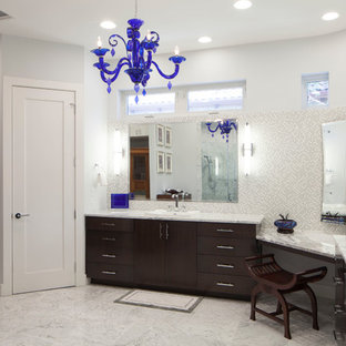 Example of a trendy bathroom design in Austin with a drop-in sink