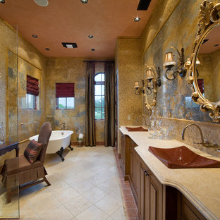 Inspiration For A Large Mediterranean Master Multicolored Tile And Stone Travertine Floor Bathroom Remodel In