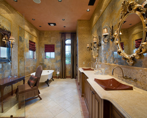 brown bathroom designs. Inspiration for a large mediterranean master multicolored tile and stone  travertine floor bathroom remodel in Gold And Tan Brown Bathroom Ideas Photos Houzz