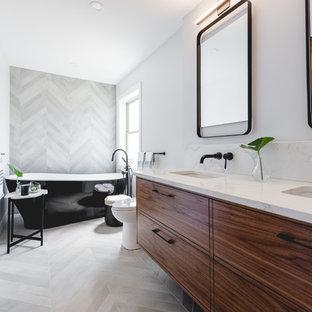 Badezimmer mit grauen Fliesen in Montreal Ideen, Design ...