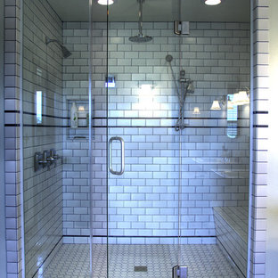 Example of a mid-sized classic master white tile and subway tile ceramic floor bathroom design in Other with white walls, a two-piece toilet and tile countertops