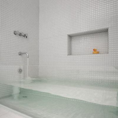 Trendy kids' mosaic tile and white tile bathroom photo in Boston
