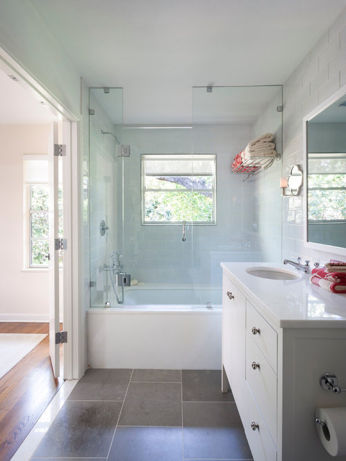 Inspiration For A Timeless Gray Tile And Stone Tile Tub/shower Combo  Remodel In Austin