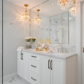 Glam Master Bathroom & Living Room - Steveston Home