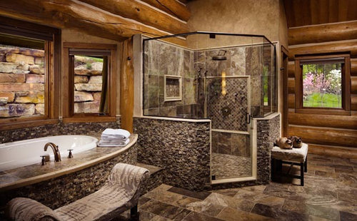 Rustic Bathroom Design Ideas Remodels Photos With A Hot Tub
