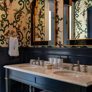 Inspiration for an eclectic 3/4 gray floor bathroom remodel in New York with open cabinets, black cabinets, multicolored walls and an undermount sink