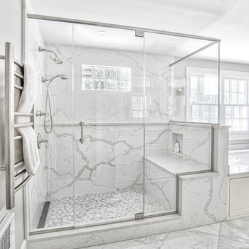 Stone Slab Shower Walls with Glass Enclosure