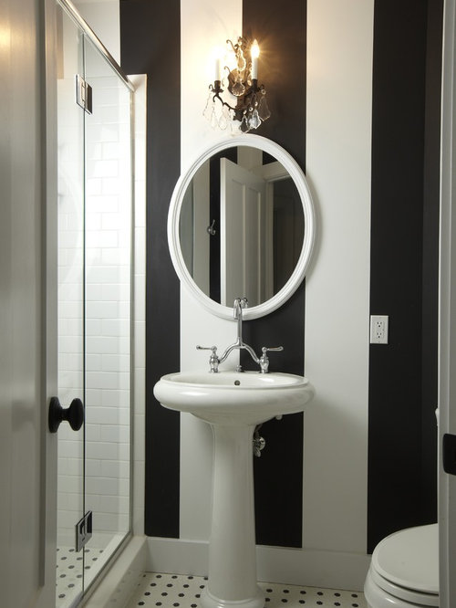 Elegant Subway Tile And Black And White Tile Bathroom Photo In Tampa With A  Pedestal Sink