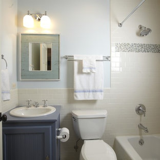 Inspiration for a traditional bathroom in Tampa with mosaic tile and blue cabinets.