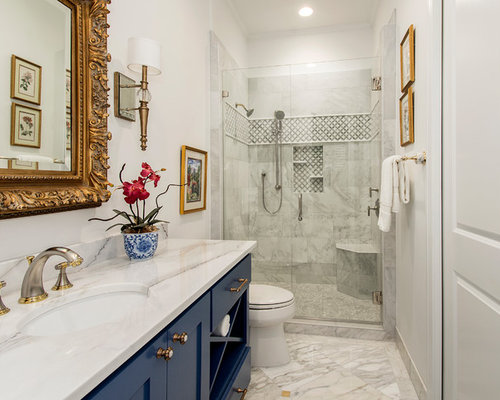 Example Of A Classic Alcove Shower Design In Dallas With Shaker Cabinets,  Blue Cabinets,