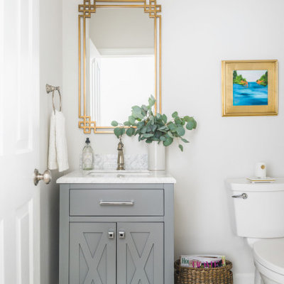 Large elegant kids' white tile porcelain tile and green floor bathroom photo in Charlotte with shaker cabinets, gray cabinets, a two-piece toilet, gray walls, an undermount sink, marble countertops and gray countertops