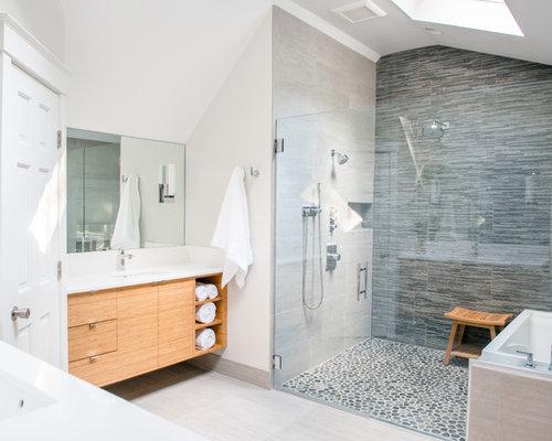 Bagno con piastrelle di ciottoli - Foto, Idee, Arredamento