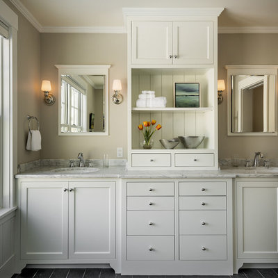 Inspiration for a mid-sized timeless slate floor bathroom remodel in Portland Maine with an undermount sink, shaker cabinets, white cabinets, marble countertops and gray walls