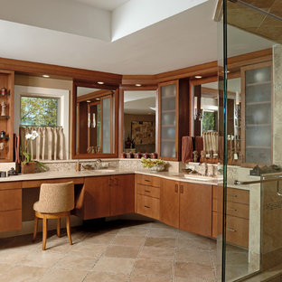 Inspiration for a large contemporary master beige tile and mosaic tile ceramic tile and beige floor bathroom remodel in Chicago with flat-panel cabinets, medium tone wood cabinets, beige walls, an undermount sink, granite countertops and a hinged shower door