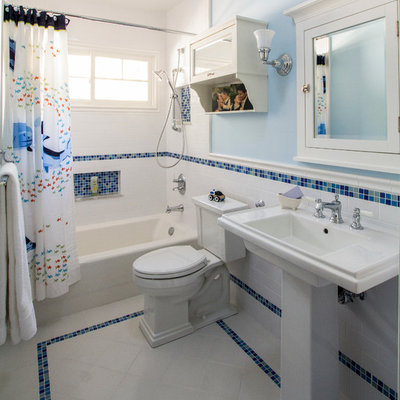 Example of a classic kids' blue tile bathroom design in Los Angeles with a pedestal sink and blue walls