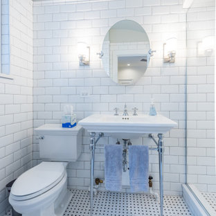 Bathroom - traditional 3/4 white tile and subway tile multicolored floor and vaulted ceiling bathroom idea in Chicago with a two-piece toilet, white walls and a console sink
