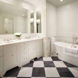 Large Transitional Master Gray Tile And Subway Marble Floor Multicolored Freestanding Bathtub Photo