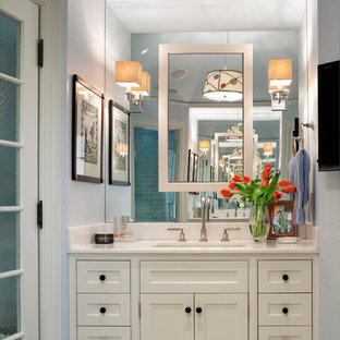 Delicieux Inspiration For A Mid Sized Timeless Master Bathroom Remodel In New York  With White Cabinets