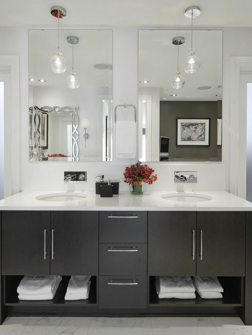 Example Of A Large Trendy Master White Tile Marble Floor And Bathroom Design In